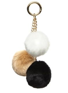 Black triple faux fur pom pom