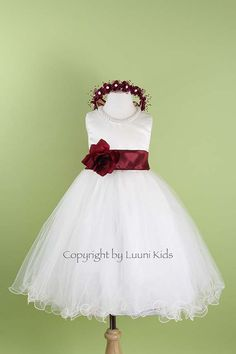 Flower Girl Dress  IVORY  with blush sash Wavy Bottom Dress with by LuuniKids,