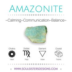 Metaphysical Healing Crystal Properties of Amazonite! Includes their associated Chakra, Zodiac Sign and Element, with additional information on Crystal Systems to assist you while setting up a crystal grid! Learn more at Soul Sisters Designs http://www.soulsistersdesigns.com Stones And Crystals, Healing Crystals, Healing Crystal Jewelry, Crystals Minerals, Healing Stones, Crystals And Gemstones, Chakra Crystals, Chakra Stones, Gem Stones