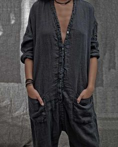 Casual Long Sleeve V Neck Solid Plus Size Bat Sleeve Rompers With Pock – Jartini rompers women jumpsuits for women rompers dressy jumpsuits casual rompers outfit linen dresses linen jumpsuit fashion classy jumpsuits Mode Chic, Mode Style, Looks Style, Style Me, Look Fashion, Womens Fashion, Net Fashion, Overall, Mode Outfits