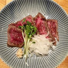 Wagyu tataki, lightly smoked over hay, with sweet onions and horseradish. Beef. by ramenjunkie