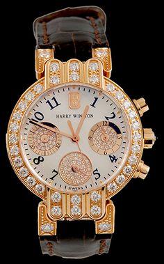 Harry Winston 18kt.Rose Gold Diamond Chorno Watch.