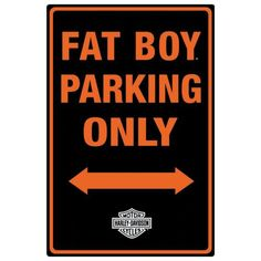 Harley Davidson Fat Boy Parking Tin Sign