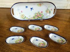 ANTIQUE NIPPON PINK ROSES COBALT BLUE GOLD BIRDS TRAY 6 SALTS CELERY SET