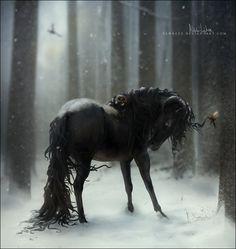 """This monster"" by *Yewrezz on deviantART - A ram horned equine. Fantasy Kunst, Fantasy Art, Kelpie Horse, Amazing Beasts, Horse Wallpaper, Unicorn Art, Black Unicorn, Equine Art, Horse Art"