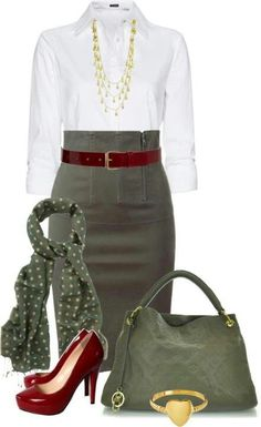 TESTED *PROFESSIONAL OUTFIT* BURGUNDY CLUTCH - Olive Green Skirt, White ICO…