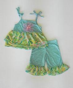 Jade Flower Ruffle Top & Flare Pants - Infant, Toddler & Girls