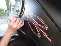 Pinstriping on Rat Rod, hoodride volkswagen beetle bug by Vané Pinstriping. Classic hot rod ivory, fire red pinstriping on flat black.  #vanepinstriping