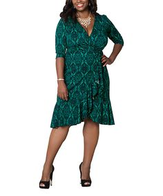 55ce810c4ae KIYONNA Enticing Emerald Flirty Flounce Wrap Dress - Plus