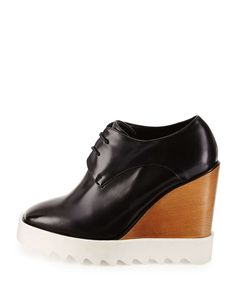 Faux-Leather Wedge Oxford, Black