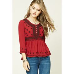 Forever21 Embroidered Peasant Top ($28) ❤ liked on Polyvore featuring tops, blouses, embroidered peasant top, red top, forever 21 blouse, 3/4 sleeve tops and red blouse