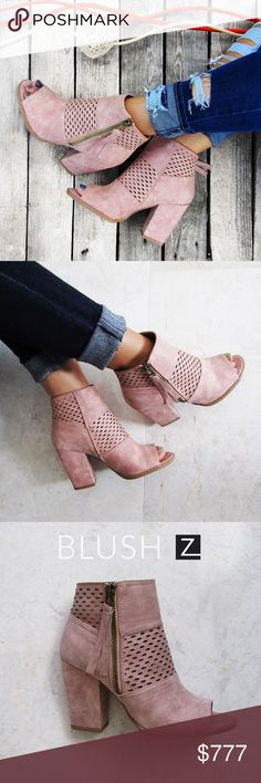 COMING SOONBlush Trendy Peep Toe Fall Bootie! Peep toe Bootie with laser cut details. Zipper closure at side. Approx 3 inch Block heel. Fitting is true to size. Available in multiple sizes. Shoes Ankle Boots & Booties