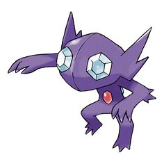 Sableye - 302 - It hides in the darkness of caves. Its diet of gems has transformed its eyes into gemstones. It dwells in the darkness of caves. It uses its sharp claws to dig up gems to nourish itself.  @PokeMasters