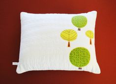 Whimsical Green Yellow Trees on Creamy by SewChicQuiltBoutique, $35.00