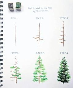 Watercolor Pine Tree Painting tutorial with step by step process photos Watercolor Trees, Easy Watercolor, Watercolour Painting, Watercolors, Prima Watercolor, Step By Step Watercolor, Painting Tattoo, Sketch Painting, Watercolor Portraits