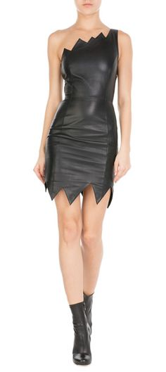 Not only have Moschino Cheap and Chic finished this black dress in supple leather, but the jagged hem adds real look-at-me attitude #Stylebop
