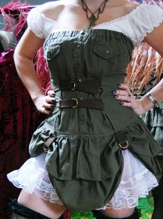 Sexy Steampunk Renegade Green Double Tier by MadMaidensEmporium, $49.99
