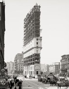 Times Building under construction, Times Square, New York, 1904, Vintage Photo