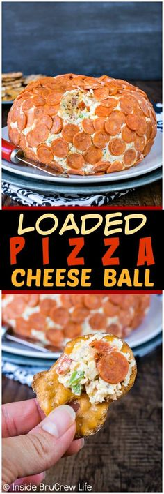 Loaded Pizza Cheese Ball - four kinds of cheese mixed with meats and veggies makes an awesome appetizer. Easy recipe to make and share at game day parties! #football #gameday #cheeseball #appetizer #redgold #ad #pizza