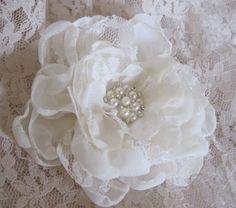 Elegant Ivory Chiffon and Lace Wedding Flower by theraggedyrose, $24.95