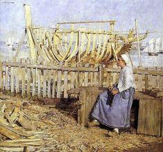 Henry Herbert La Thangue, The Builder's Yard, Brittany, 1881