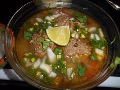 Caldo de Albondigas! OMG I love this stuff! ( it simply means Mexican soup with meatballs) :-P