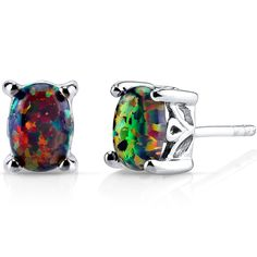 Created Black Opal Oval Stud Earrings Sterling Silver 1.00 Carats ** Read more  at the image link. (This is an affiliate link and I receive a commission for the sales)