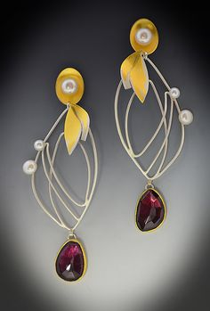 Monarch Garnet Earrings by Judith Neugebauer: Gold, Silver and Stone Earrings available at www.artfulhome.com