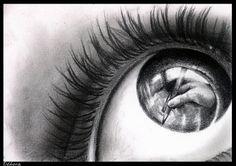 ... Imágenes de Grupo de Dibujo > Dibujo de un ojo a lápiz