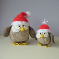 Festive Owls toy knitting patterns by fluffandfuzz on Etsy