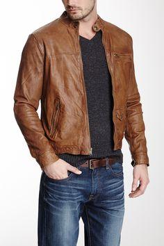 Lucky Brand Salt Slats Leather Moto Jacket