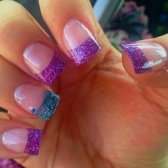 Teal and purple sparkly fake nails