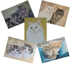 Pastel Artwork, Pastel Paintings, A6 Size, Christmas Gift Box, Domestic Cat, Blank Cards, White Envelopes, Paper Goods, Cat Lovers