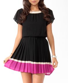 Pleated Colorblock Dress (Black/Magenta). Forever 21. $28.90