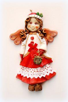 anioł z masy solnej, anioł świąteczny, zimowy, salt dough angel,