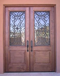 Mexican Stlye Double Doors With Hainge Wrought Iron Grill