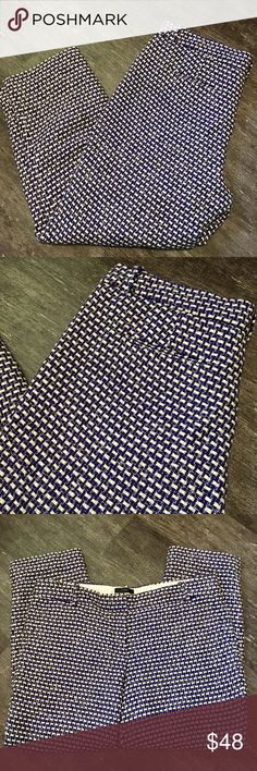 """{j.crew} Tweed Cafe Capri Pants Blue, white and gold tweed """"Cafe Capri"""" pants by J.Crew. Size 10. Two faux back pockets.   Closure: Front Zipper, Button and 2 Metal Fasteners  Material: Shell-62% Silk 25% Cotton 11% Viscose 2% Other Fibers, Lining-100% Polyester  Measurements Waist: 35"""" lying flat, stretches to 36""""  Length: 35.5"""" Inseam: 26"""" Front Rise: 10"""" Back Rise: 15.5""""  Thigh Width Circumference: 22"""" Leg Opening Circumference: 15"""" J. Crew Pants Capris"""