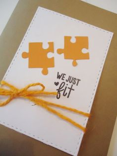 Valentine's Day greeting card We just fit by JustforUnotes on Etsy