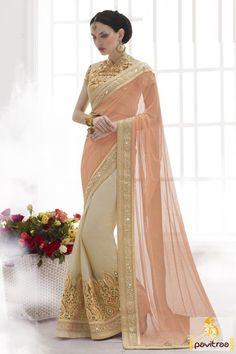 Mahotsav beige peach net silk designer saree is very marvelous. This designer saree is made up with heavy embroidery work that glance amazing on saree. @ http://www.pavitraa.in/store/designer-collection/?utm_source=pk&utm_medium=pinterestpost&utm_campaign=29Dec #newyearsareess, #mahotsav, #weddingsarees, #bridalsaree, #partywearsarees, #heavydesignersarees, #latestsarees, #designerclolection, #wholesalesarees,@pavitraa.in