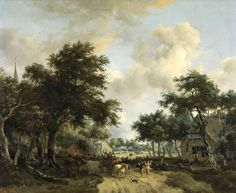 メインデルト・ホッベマ (Meindert Hobbema)「Wooded Landscape with Merrymakers in a Cart」