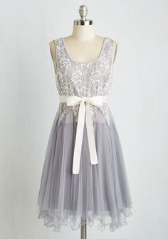 Happily Ever Afternoon Dress by Ryu - Mid-length, Knit, Lace, Tulle, Grey, Solid, Lace, Belted, Special Occasion, Prom, Wedding, Party, Bridesmaid, Homecoming, Fit & Flare, Sleeveless, Scoop