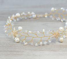 Gold Star Wedding Bridal Halo Wedding Crown  by PrettyNatali