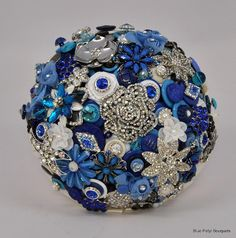 Blue Button Bouquet by Blue Petyl Bouquets #bridal #bouquet #blue