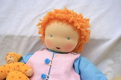 sweet Baby Doll Loves her doll / in Waldorf style 15 inch / 40 cm / Waldorf doll