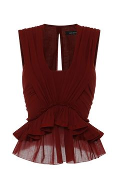 Cotton Gauze Grayton Top In Rust by Isabel Marant for Preorder on Moda Operandi