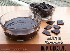 Easy, Healthy, Homemade Dark Chocolate Recipe! PrimallyInspired.com #dairyfree