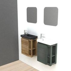 Meuble lave-mains avec miroir, Noir, l.22.5 x p.40 x h.48 cm Fairway | Leroy Merlin Lave Main Design, Wc Design, Toilet Design, Tiny Bathrooms, Modern Bathroom, Downstairs Toilet, Cabinet Design, Bathroom Interior Design, Powder Room