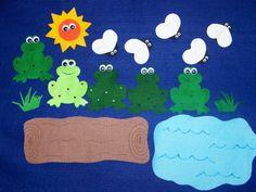 5 Speckled Frogs and Flies Flannel Felt door creativefeltboards