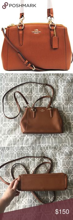 """COACH Mini Christie Carryall Tan Leather Excellent used condition, left the house maybe two or three times!  One small scuff on the back (see pictures). Saddle (tan) Leather with gold toned zip Inside zip, cell phone and multifunction pockets  Zip-top closure, fabric lining Handle with 5 3/4"""" drop adjustable strap with 22"""" drop (shoulder or cross body use) 10 1/2"""" (L) X 7"""" (H) X 4"""" (D)  Purse only, no dust bag or original packaging.  Purchased directly from the Coach website in November…"""
