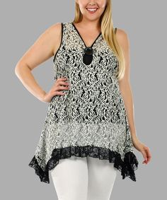 Another great find on #zulily! Black & White Lace Sidetail Tunic - Plus #zulilyfinds